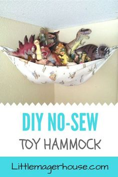 Make a no-sew DIY toy hammock for toys and stuffed animals for your kids' room. Get rid of the clutter. I made one for free using two things I already had!