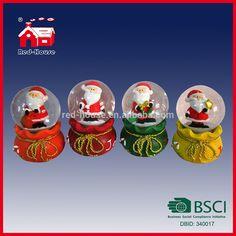Glass Snow Globe with Christmas Gift Bag Base with Colorful LED Lights