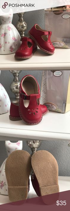 Red leather baby deer shoes size 4 (9-12 months) Worn once. Like new condition. Red leather shoes with Velcro closure Baby Deer Shoes Baby & Walker