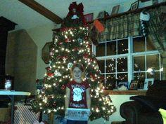 December 2, 2013, Santa sends Suzy Jingle Bella to Aubriann (top of the tree)....let the fun begin!  Elf on the shelf