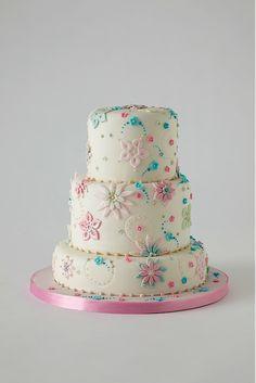 Blue, pink flowers cake