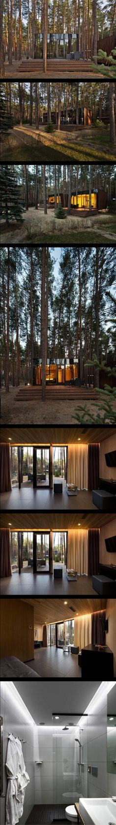 Guest houses in Relax Park Verholy The guest houses are the variation of the hotel rooms in spa-complex Relax Park Verholy located in a pine forest in the Poltava region. Houses are built from lightweight metal frame structures made by BF Zavod company