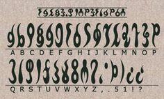 The Legend of Zelda.  Official Gerudo Alphabet (Hyrule Historia)