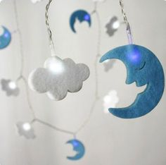 Moon and clouds felt string light  idea for a pair of earrings - one cloud and one moon
