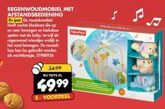 muziekmobiel afstandsbediening zachte bewegen kiekeboe spelen baby regenwoud vriendjes vrolijk rond muziek box nachtlampje l 5 voordeel  folder aanbieding bij ToysXL