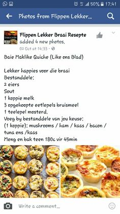 Flippen lekker braai resepte Finger Food Appetizers, Appetizer Recipes, Snack Recipes, Cooking Recipes, Quiche Recipes, Tart Recipes, Kos, Braai Recipes, South African Recipes