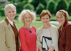 """Legendary actresses Helen Mirren (center left) and Julie Walters (center right) pose with the inspirations for their characters: two of the original """"calendar girls,"""" Tricia Stewart (left) and Angela Baker (right)."""