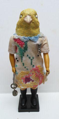 Birdgirl. Textile art doll. by AnnieMontgomerie on Etsy, $85.50