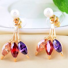 Multi-colored #Earring, with CZ, perfect design and high quality.