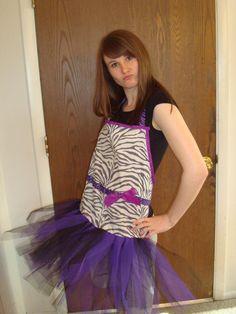 Purple tutu zebra apron $45