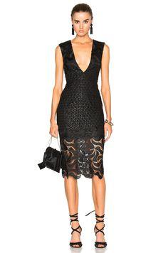 Image 1 of NICHOLAS Leaf Lace Deep V Dress in Black