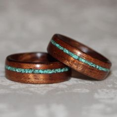 Set of Custom Wooden Rings with Crushed Stone Inlay Bent Wood Meth...