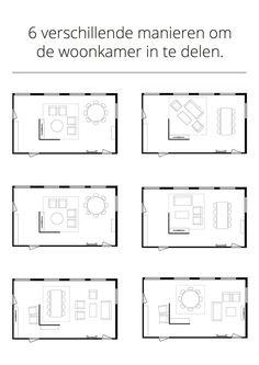 6 verschillende manieren om de woonkamer in te delen