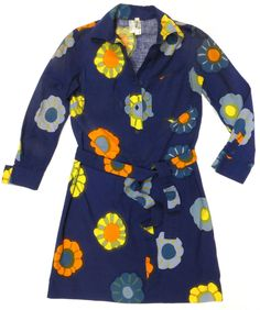 Vintage  70s Marimekko Cotton Belted Shirt Dress  Size Small  Marimekko   ShirtDress 73855b4c0bf9e