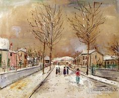 Maurice Utrillo Village Street In The Snow At Sannois oil painting reproductions for sale