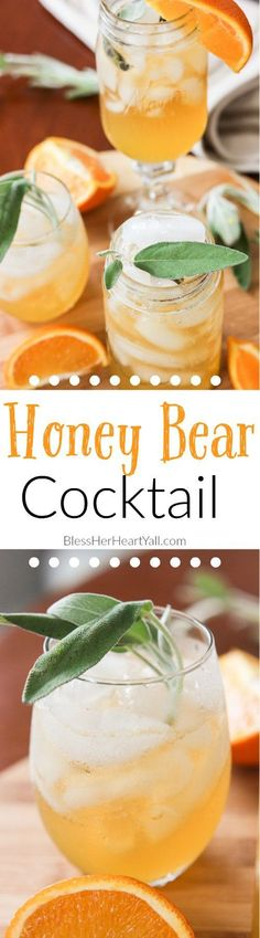 This honey bear cocktail is the perfect cocktail to sip on during those chilly fall evenings with friends on your porch or for entertaining those guests as they walk in the front door of your Thanksgiving day festivities. Made with a simple syrup of honey, sage, and orange, then combined with southern bourbon over ice, you will be sipping on a fresh, mellow, slightly sweet cocktail that everyone {including those honey bears!} will find perfect all fall long. http://www.blessherheartyall.com