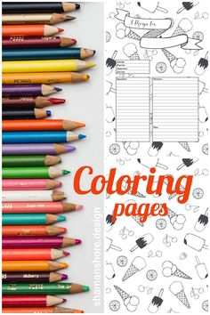 2 in 1: Cookery Coloring Book & Recipe Cards, Coloring Recipe Pages & Food Patterns, Food coloring PDF adult coloring book digital download, Printable Blank Recipe Book Templates, Livre de coloriage
