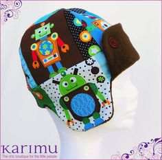 Winter hat for boys - Aviator Style -Robots