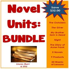 Save 25% by purchasing all 5 of my novel units in one bundle! Five novels, nine products, and everything you need for 20 full weeks of Middle School English Language Arts! This engaging bundle includes each of my novel units, as well as all the supplementary materials for each novel. Included: The Outsiders, The Giver, My Brother Sam Is Dead, Diary of Anne Frank, Night.