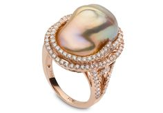 Yoko London 18kt rose gold ring with 1.38cts diamonds and a natural colour baroque Freshwater pearl 13-14mm