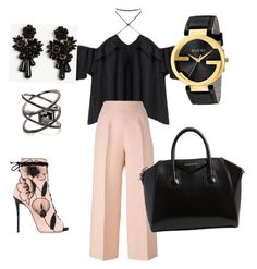 """""""Pink sass"""" by aagosto116 ❤ liked on Polyvore featuring Fendi, Giuseppe Zanotti, Gucci, Ann Taylor, Eva Fehren and Givenchy"""