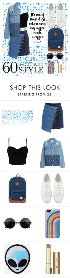 """denim"" by homopomogay ❤ liked on Polyvore featuring Chicwish, SJYP, Herschel Supply Co., Marc Jacobs, Stila, asymmetricskirts and 60secondstyle"