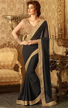 Adorable Black Party Wear Sari