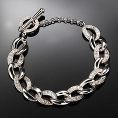CZ Pave and Polished Sterling Silver Link Bracelet | AtAuction.com