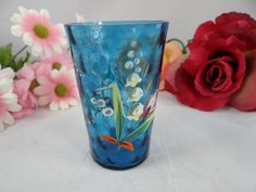 Vintage Hand Painted Applique Blue Small Glass by SecondWindShop, $7.50