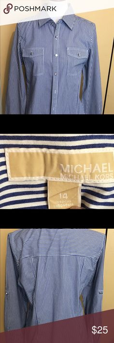 Michael Kors women's blue/white pinstripe shirt Michael Kors women's blue/white pinstripe shirt with roll up tab sleeves - perfect⭐️⭐️⭐️⭐️⭐️ MICHAEL Michael Kors Tops Button Down Shirts