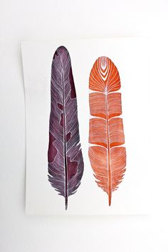 Modern Feather Art Watercolor Painting Archival by RiverLuna