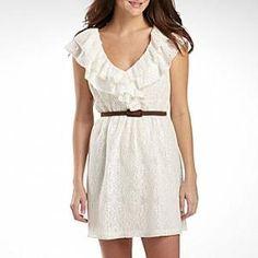 Olsenboye Juniors Lace Ruffle Belted Dress : dresses : juniors : jcpenney