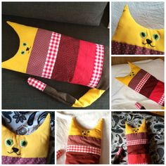 Katze aus Stoffresten / Cat made from scraps of fabric / Upcycling