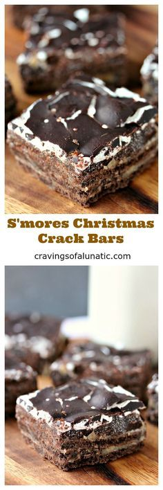 S'mores Christmas Crack Bars from cravingsofalunatic.com- This dessert is super easy to make. Layers of deliciousness make every bite magical. This one has chocolate graham crackers, caramel, marshmallow and chocolate. Every bite is perfection! (@CravingsLunatic)