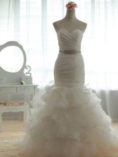 Custom White Mermaid Wedding Dress,Cheap Wedding Dress,Custom Mermaid Wedding Dress $269