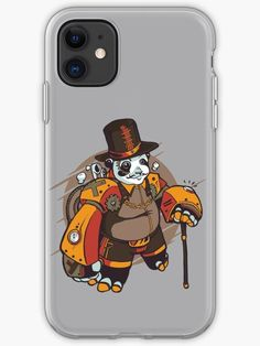 Steampunk Panda with Top Hat and Walking Cane iPhone Soft Case.  Cute steampunk panda looking very dashing with his moustache.  His steampunk style outfit comes complete with mechanical gears, top hat and walking cane.  #panda #tophat #walkingcane #steampunk #victorian #mechanical #vintage #retro #grunge #giftideas #fashion #homedecor #artsandcrafts #stickers #redbubblestickers #redbubble #art #redbubbleshop #ad @giftsbyminuet Mechanical Gears, Red Bubble Stickers, Walking Canes, Canvas Prints, Art Prints, Moustache, Steampunk Fashion, Iphone Case Covers, Panda