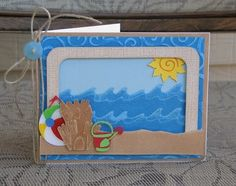 Scrapping Mommy: Beach Card For Summer 3d Cards, Paper Cards, Cool Cards, Ocean Themes, Beach Themes, Beach Cards, Scrapbooking, Summer Crafts, Making Ideas