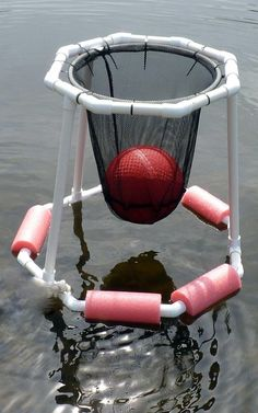 Floating pool Basketball hoop DIY do it yourself made with PVC pipes, pool noodles, zip ties, net netting  Father's Day gift idea from, and made by, the boys to Dad
