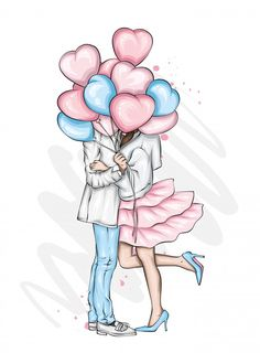Girly Drawings, Art Drawings Sketches, Cartoon Girl Images, Girl Cartoon, Love Illustration, Character Illustration, Image Clipart, Cute Couple Cartoon, Cute Love Pictures
