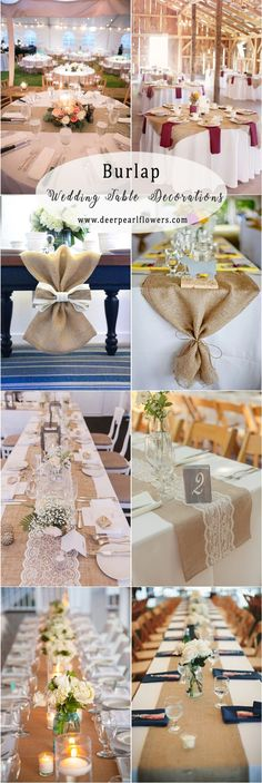 rustic country burlap wedding table decor