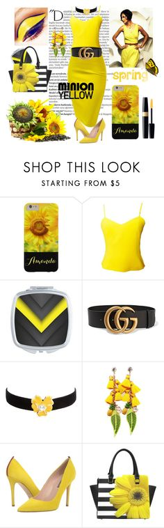 """Minion Sun Flower Yellow!"" by personaleffects ❤ liked on Polyvore featuring Balmain, Versus, Gucci, Kenneth Jay Lane and SJP"