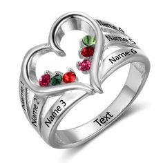 Personalized 6 birthstone & 6 names inner hear mothers ring with custominscription on the inner ring.