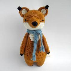 Tall fox with scarf amigurumi pattern by Little Bear Crochet