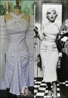 Marilyn Monroe Dress-Seven Year Itch-Wiggle Hallway Dress-Polka Dot Pinup--Custom Made to Size on Etsy, $210.00