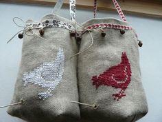 sac à ficelle en lin brodé