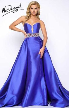 This ball gown ia simply elegant! It is strapless and has a sweetheart neck line. The waist line features colored crystals and also comes in red! Be a princess for the night with this Mac Duggal 62661M ball gown!