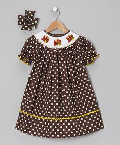Take a look at this Brown Pear Bishop Dress & Bow Clip - Infant, Toddler & Girls on zulily today!