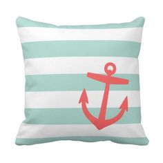 Mint & Coral Nautical Stripes and Cute Anchor Throw Pillow