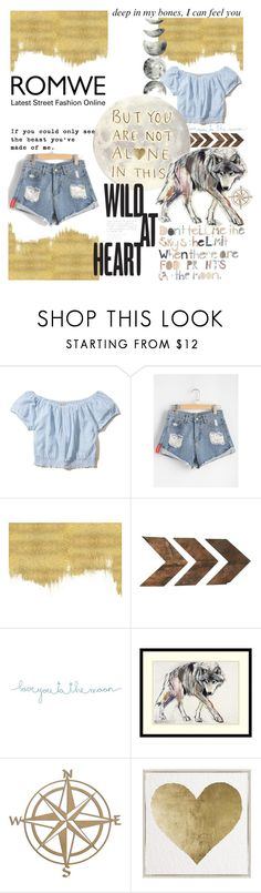 """ROMWE CONTEST"" by ajsela ❤ liked on Polyvore featuring Hollister Co., FOOTPRINTS, WALL, Natural Life, Amanti Art and Oliver Gal Artist Co."