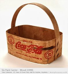 "*COCA-COLA ~ 1940'a six pack carrie is made of wood, within the cicle on the side of the ccarrier, the text reads, ""6 for 35 cents"" and ""Serve ice-cold."